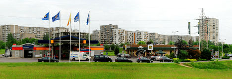 Ukmerges street with McDonalds and Statoil in Vilnius Stock Images