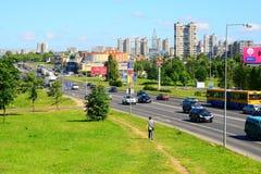Ukmerges street traffic view  on June 12, 2015 Royalty Free Stock Photos