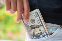 Ukradzeni Amerykańscy dolary z kieszeni zdjęcie royalty free