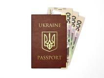 Ukraińscy paszportowi whith banknoty ukraiński pieniądze Obrazy Stock