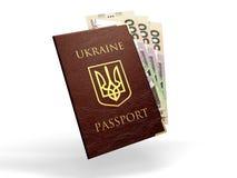 Ukraińscy paszportowi whith banknoty ukraiński pieniądze Obrazy Royalty Free