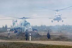Ukraińscy wojsko helikoptery Obrazy Stock