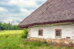 Ukraińska buda pokrywający strzechą pochylania pole blisko Zdjęcie Stock