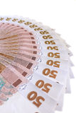 Ukraińska pieniądze wartość 50 grivnas Zdjęcia Stock