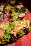 Ukraiński kozaczka stół w samowarach i pieczenie na ślubie zdjęcie stock