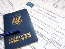 Ukraiński paszport z formą Zdjęcie Royalty Free