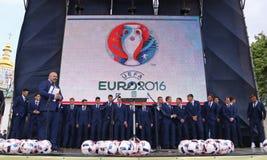 Ukrai国家橄榄球队的离开的仪式  免版税库存图片