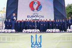 Ukrai国家橄榄球队的离开的仪式  免版税图库摄影