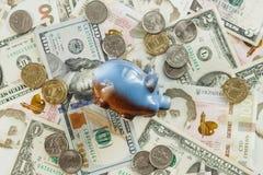 Ukraiński hryvnia i amerykanina ` s dolary Zdjęcie Stock