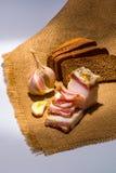 Ukraiński salo z chlebem i czosnkiem Zdjęcie Stock