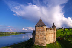 Ukrain.Khotyn Fortress. Medieval fortress in the background of the river Royalty Free Stock Image