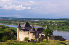 Ukrain.Khotyn Fortress. Medieval fortress in the background of the river Royalty Free Stock Images