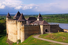 Ukrain.Khotyn Fortress. Medieval fortress in the background of the river Royalty Free Stock Photo