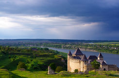 Ukrain.Khotyn Fortress. Medieval fortress in the background of the river Stock Images