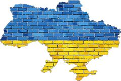 Ukraina översikt på en tegelstenvägg Royaltyfri Bild