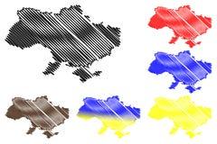 Ukraina översiktsvektor Fotografering för Bildbyråer