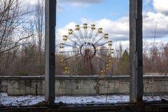 Ukraina Chernobyl niedopuszczenia strefa - 2016 03 19 Budynki w zaniechanym mieście Pripyat Zdjęcia Royalty Free