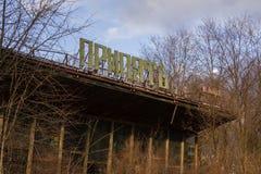 Ukraina Chernobyl niedopuszczenia strefa - 2016 03 19 Budynki w zaniechanym mieście Pripyat Zdjęcia Stock