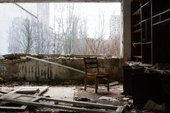 Ukraina Chernobyl niedopuszczenia strefa - 2016 03 19 Budynki w zaniechanym mieście Pripyat Fotografia Stock