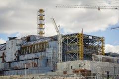 Ukraina Chernobyl niedopuszczenia strefa - 2016 03 19 Elektrownia Jądrowa frontowy widok Zdjęcia Stock