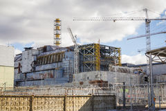 Ukraina Chernobyl niedopuszczenia strefa - 2016 03 19 Elektrownia Jądrowa frontowy widok Zdjęcie Stock
