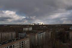 Ukraina Chernobyl niedopuszczenia strefa - 2016 03 19 Elektrownia jądrowa Widok od Pripyat Zdjęcie Stock