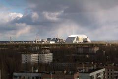 Ukraina Chernobyl niedopuszczenia strefa - 2016 03 19 Elektrownia jądrowa Widok od Pripyat Obraz Stock