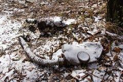 Ukraina Chernobyl niedopuszczenia strefa - 2016 03 19 Infekować napromienianie maski Fotografia Stock