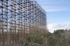 Ukraina Chernobyl niedopuszczenia strefa - 2016 03 20 Radziecka radarowa łatwość DUGA Obraz Stock