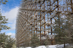 Ukraina Chernobyl niedopuszczenia strefa - 2016 03 20 Radziecka radarowa łatwość DUGA Fotografia Stock