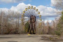 Ukraina Chernobyl niedopuszczenia strefa - 2016 03 19 Zaniechany park rozrywki w Pripyat mieście Fotografia Stock