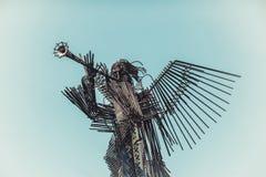 UKRAINA CHORNOBYL - 19 AUGUSTI, 2017: Monument av den tredje ängeln i Chornobyl Royaltyfri Fotografi