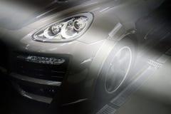 Ukraina Dnepr December 10, 2015 Porsche Cayenne turboladdareTechArt magnumbutelj arkivbild