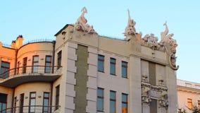Ukraina Europa Hus med chimeras Arkitektonisk struktur Det byggdes i 1902 Kiev Ukraina Hus med chimeras stock video