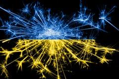 Ukraina fajerwerki błyska flaga Nowy Rok 2019 i przyjęcia gwiazdkowego pojęcie royalty ilustracja