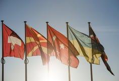 Ukraina flagga framme av Europarådet Arkivbild