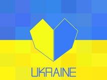 Ukraina flagga i polygonal stil geometriskt royaltyfri illustrationer