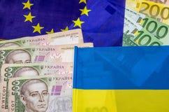Ukraina i Europe flaga z pieniądze Zdjęcie Stock