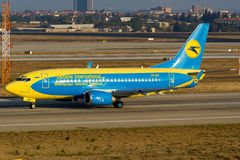 Ukraina internationella Boeing 737 Royaltyfri Fotografi