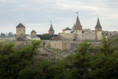 Ukraina Kamyanets-Podilskyy, medeltida slott Royaltyfria Bilder