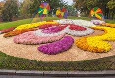 UKRAINA KIEV: på Spivoche Pole, en utställning av blommor Royaltyfria Foton
