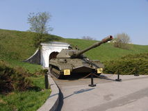 Ukraina kiev Pamiątkowy kompleks muzeum Wielka Patriotyczna wojna Militarny wyposażenie Zbiornik T-10 Zdjęcia Royalty Free