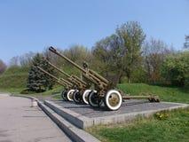 Ukraina kiev Pamiątkowy kompleks muzeum Wielka Patriotyczna wojna Militarny wyposażenie Zbiornika pistolet Fotografia Royalty Free