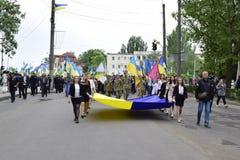 Ukraina, Kijów - 05 9 2016: Ludzie świętują dzień zwycięstwo w ulicach miasto, militarny muzyk Fotografia Royalty Free
