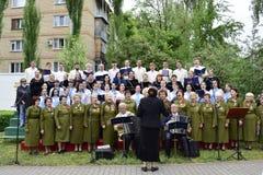 Ukraina, Kijów - 05 9 2016: Ludzie świętują dzień zwycięstwo w ulicach miasto, militarny muzyk Obraz Royalty Free