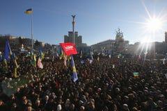 Ukraina, Kijów, A wielki protestujący przeciw władzom w kwadracie majdan tłum Obraz Royalty Free