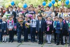 Ukraina Kijów, Wrzesień - 1, 2016 Równiarki i inny studen Obraz Stock