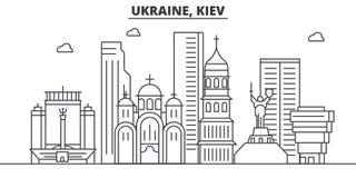 Ukraina, Kijowska architektury linii linii horyzontu ilustracja Liniowy wektorowy pejzaż miejski z sławnymi punktami zwrotnymi, m ilustracja wektor