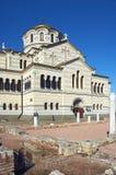 Ukraina Krim, fördärvar av den forntida staden av i Chersonese Royaltyfri Foto