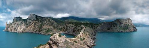 Ukraina Krymski półwysep, skalisty wybrzeże Czarny morze, Tsar zatoczka Obraz Stock
